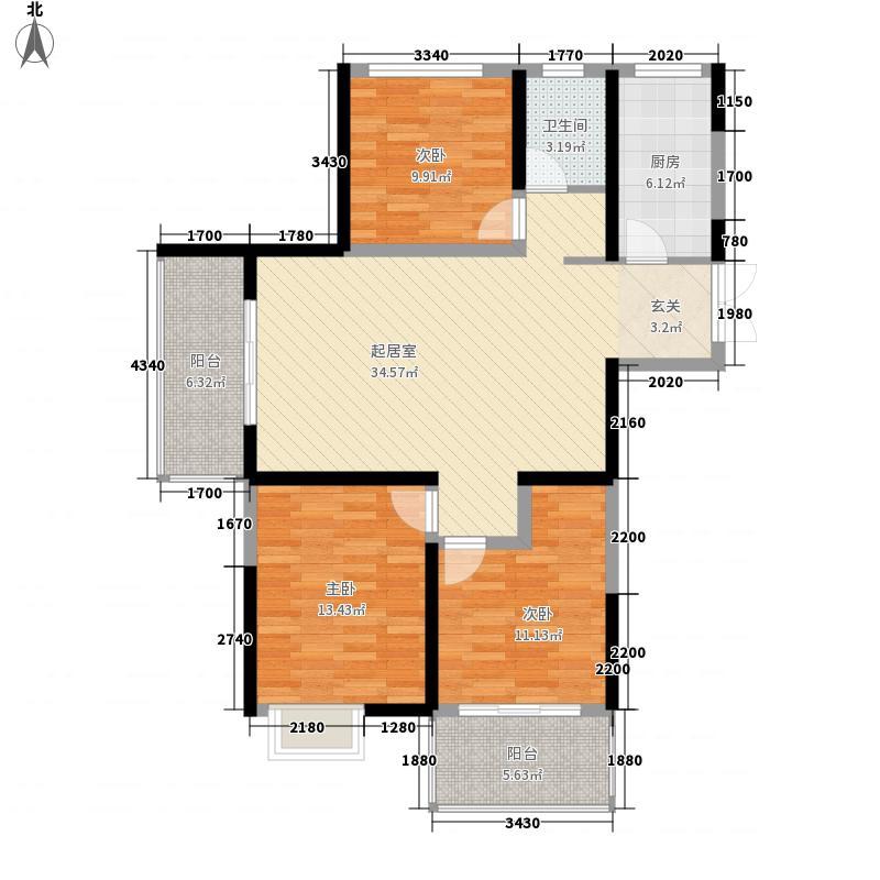 山水云房二期29#楼东西边户、中间户D1-1户型