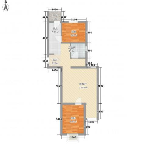 上上城青年社区二期2室1厅1卫0厨85.00㎡户型图