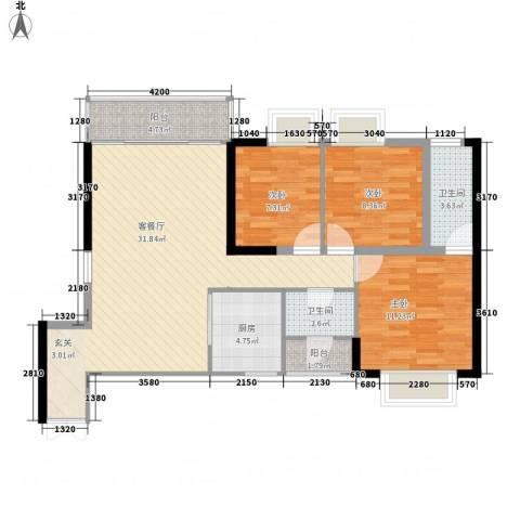 中天财富3室1厅2卫1厨103.00㎡户型图