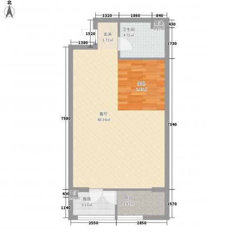 巴克寓所1厅1卫1厨73.00㎡户型图