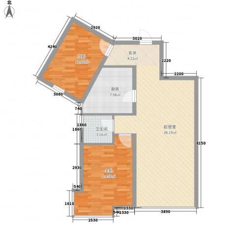 新世界花园湾景华庭2室0厅1卫1厨99.00㎡户型图