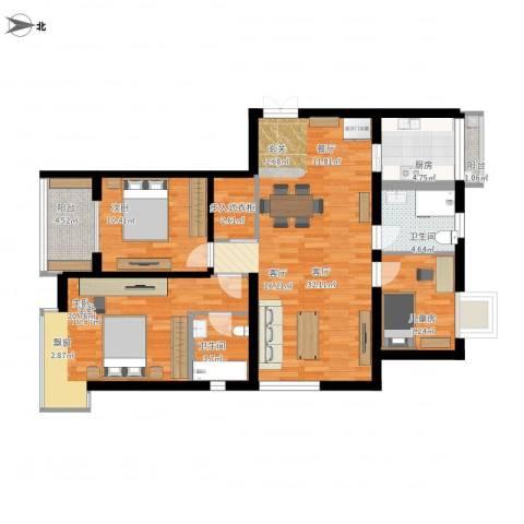 爱家亚洲花园3室1厅2卫1厨133.00㎡户型图
