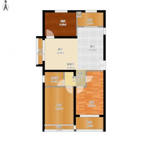 百盛花园3室1厅1卫1厨120.00㎡户型图
