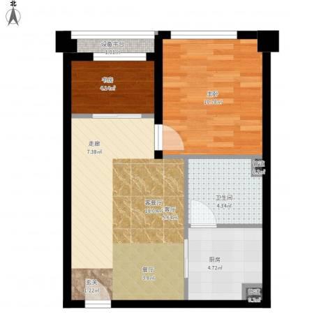 清流水韵2室1厅1卫1厨62.00㎡户型图