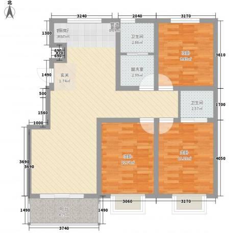 海东盛景3室1厅2卫0厨115.00㎡户型图