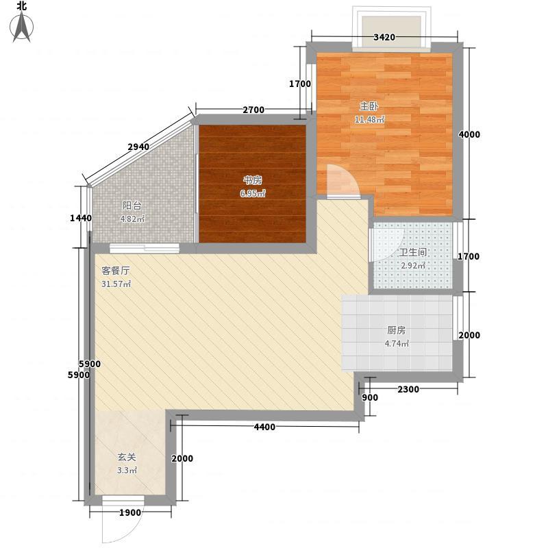 漓江蓝湾6.23㎡6#B2户型2室2厅1卫1厨