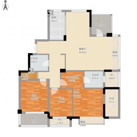 水岸瑶琳3室1厅2卫1厨173.00㎡户型图