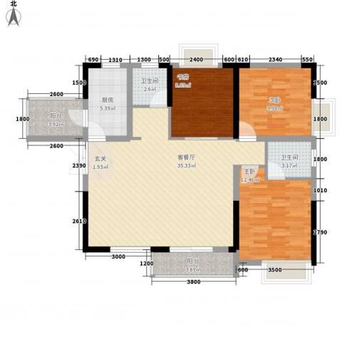 清风华园3室1厅2卫1厨115.00㎡户型图