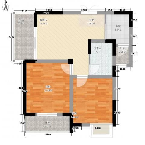 清风华园2室1厅1卫1厨77.00㎡户型图