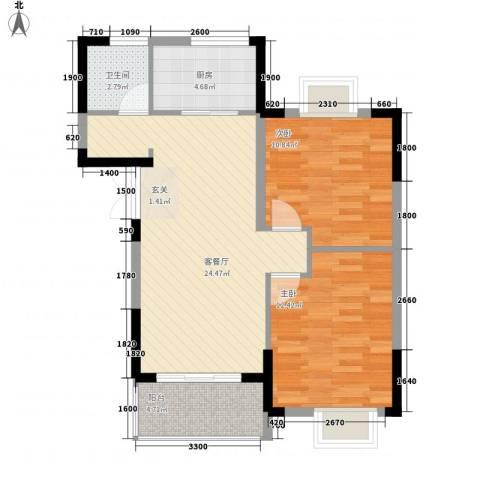 清风华园2室1厅1卫1厨59.91㎡户型图