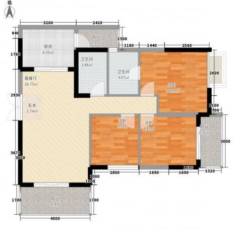 清风华园3室1厅2卫1厨81.12㎡户型图