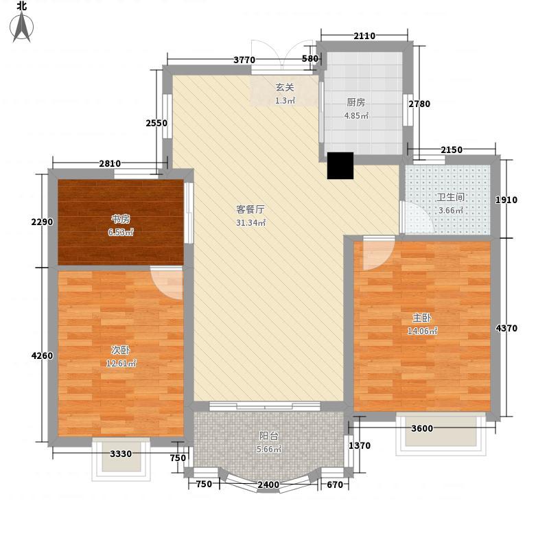 巴黎都市108.00㎡巴黎都市户型图9号楼3房户型3室2厅1卫1厨户型3室2厅1卫1厨