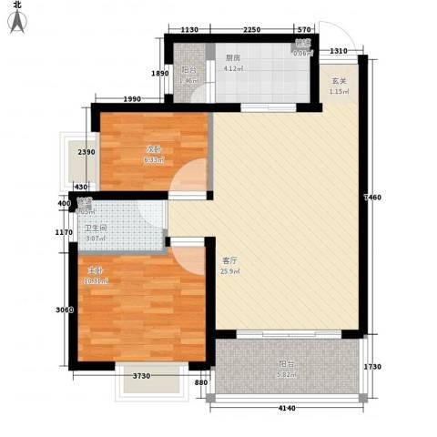 新华大厦2室1厅1卫1厨83.00㎡户型图