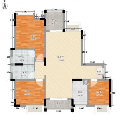 恒捷・逸林首府3室1厅2卫1厨120.00㎡户型图