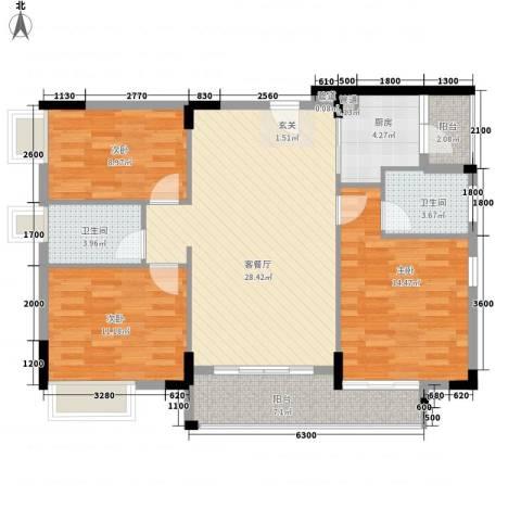 恒捷・逸林首府3室1厅2卫1厨119.00㎡户型图