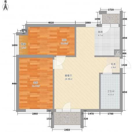 「大连天地」悦翠台Style2室1厅1卫0厨77.00㎡户型图