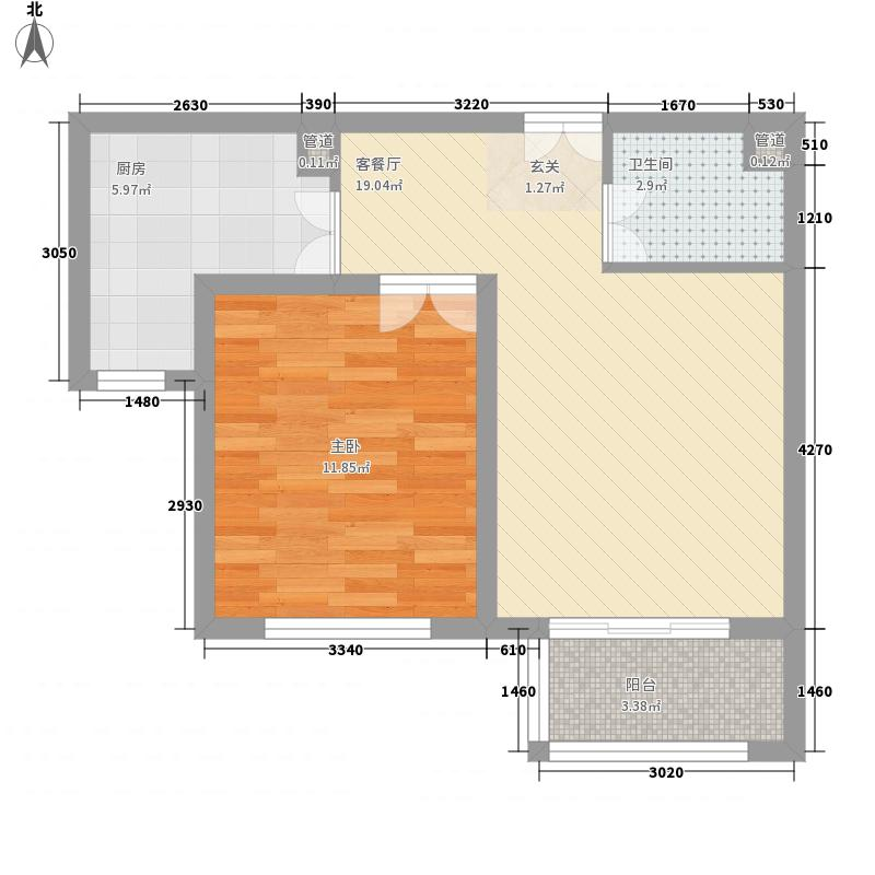 未名189863.27㎡B3#楼2号一居户型1室1厅1卫1厨