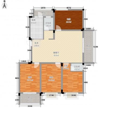 格林春天・野花园二期4室1厅2卫1厨161.00㎡户型图