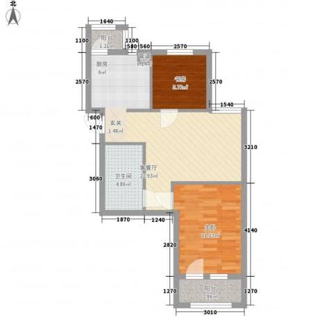 「大连天地」悦翠台Style2室1厅1卫0厨66.00㎡户型图