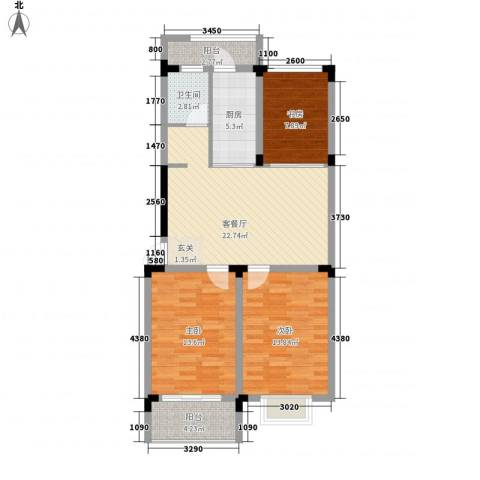 格林春天・野花园二期3室1厅1卫1厨106.00㎡户型图