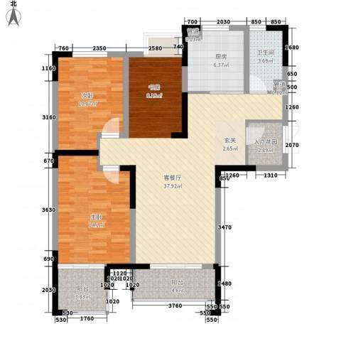 冠城华府2室1厅1卫1厨121.00㎡户型图