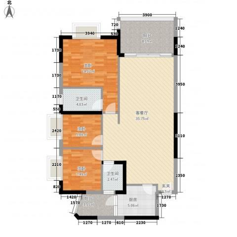 岭南公馆3室1厅2卫1厨122.00㎡户型图
