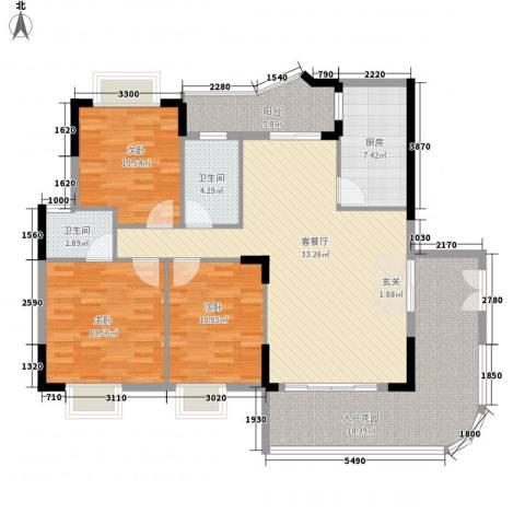 岭南公馆3室1厅2卫1厨149.00㎡户型图