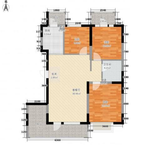 U-WORLD优品天地3室1厅1卫1厨106.00㎡户型图