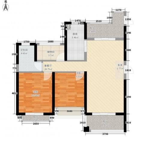 棕榈湾2室1厅1卫1厨110.00㎡户型图