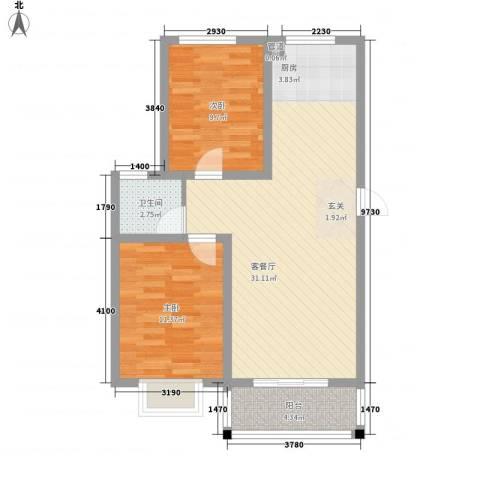 海东盛景2室1厅1卫0厨86.00㎡户型图