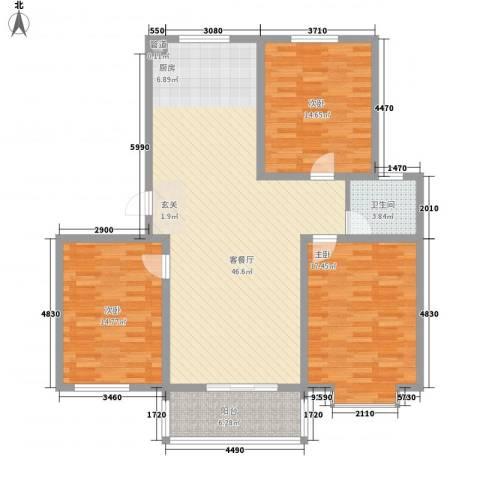 海东盛景3室1厅1卫0厨103.70㎡户型图