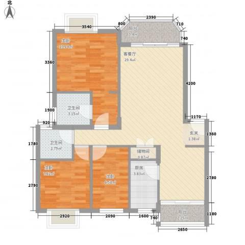 万科四季花城三期3室1厅2卫1厨105.00㎡户型图
