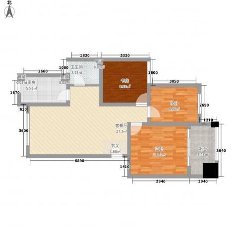 万科四季花城三期3室1厅1卫1厨104.00㎡户型图