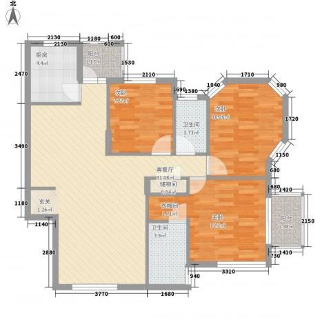 万科四季花城三期3室1厅2卫1厨109.00㎡户型图