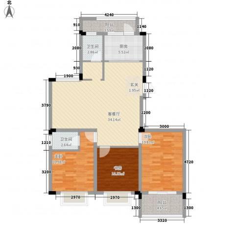 格林春天・野花园二期3室1厅2卫1厨126.00㎡户型图