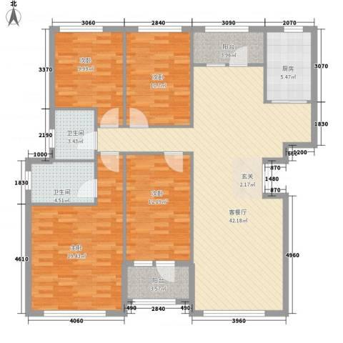 中盈北国绿城4室1厅2卫1厨161.00㎡户型图