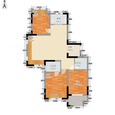 兰亭苑3室1厅2卫1厨117.00㎡户型图