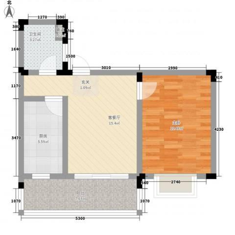 格林春天・野花园二期1室1厅1卫1厨66.00㎡户型图