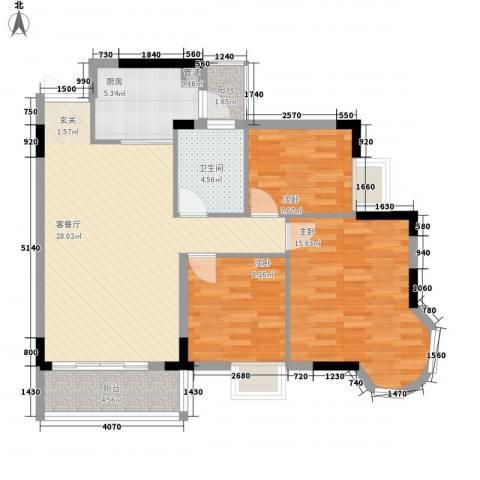 盛世华庭3室1厅1卫1厨98.00㎡户型图