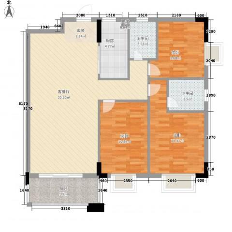 金碧华庭3室1厅2卫1厨94.40㎡户型图