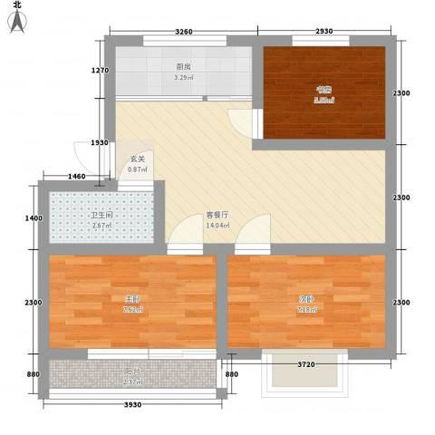 新恒生大厦3室1厅1卫1厨62.00㎡户型图