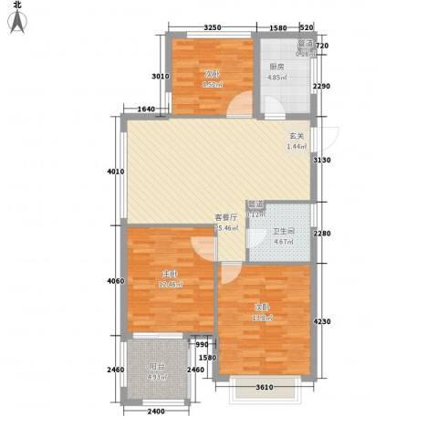 东浦花园3室1厅1卫1厨122.00㎡户型图