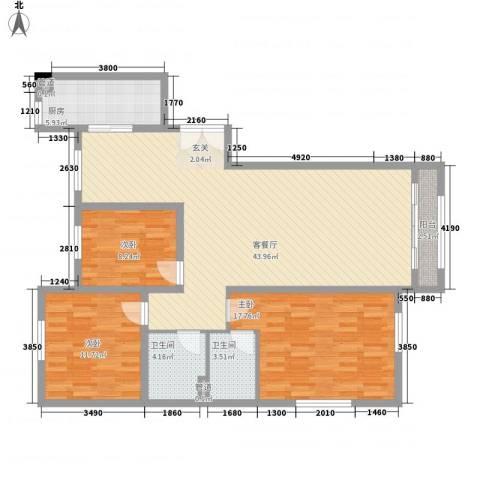 巨华世纪城二期和谐园3室1厅2卫1厨138.00㎡户型图