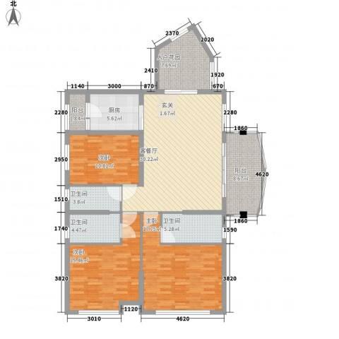 名汇城市花园3室1厅3卫1厨126.00㎡户型图