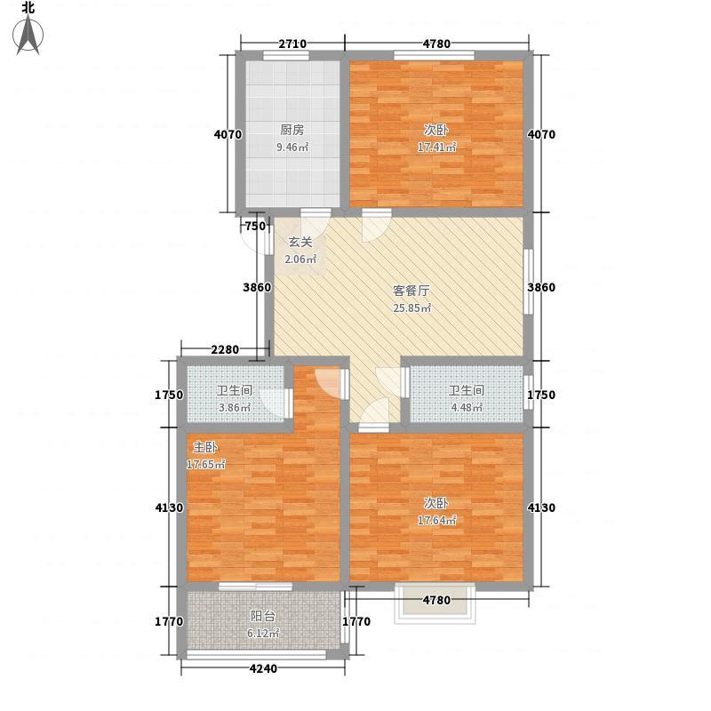 圣地・银星佳园146.87㎡K1户型3室2厅2卫1厨