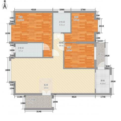 名汇城市花园3室1厅2卫1厨102.00㎡户型图