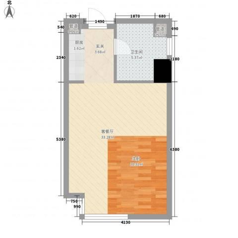 万达广场1厅1卫0厨55.00㎡户型图