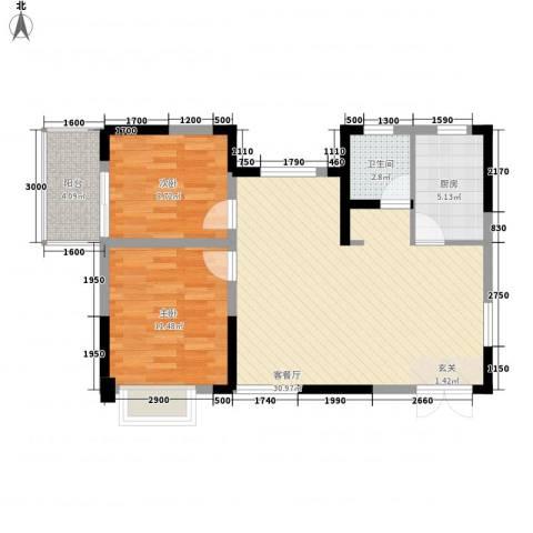清风华园2室1厅1卫1厨86.00㎡户型图