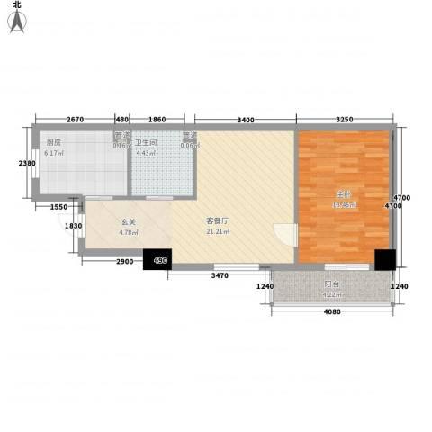 顶�广场1室1厅1卫1厨71.00㎡户型图
