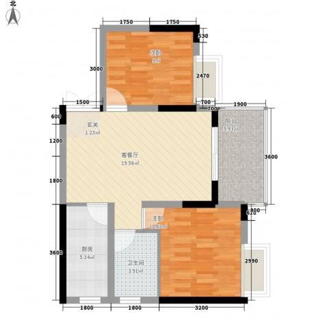 清风华园2室1厅1卫1厨78.00㎡户型图